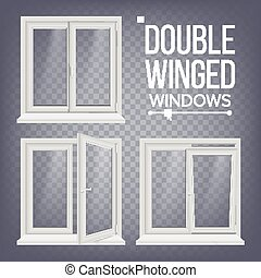PVC Window Vector. Double-Winged. Opened And Closed. Front...
