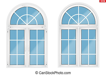 PVC window with arch - Metal plastic PVC arch window with...