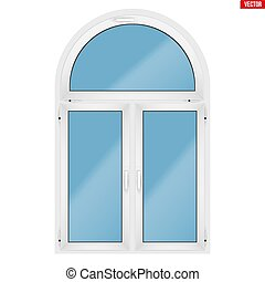 PVC window with arch - Metal plastic PVC window with three...