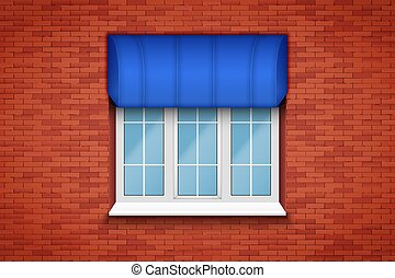 PVC window with awning - Metal plastic PVC window with...
