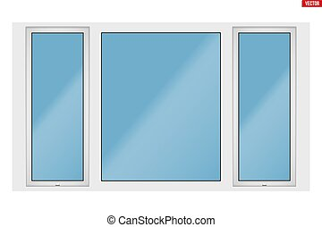 PVC window with three sash - Metal plastic PVC big window...