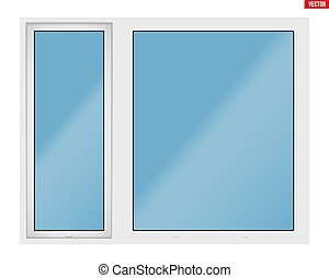 PVC window with two sash - Metal plastic PVC big window with...