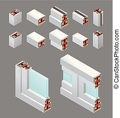 PVC Windows Isometric Elements - Pvc windows isometric frame...