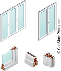 PVC Windows Isometric Icons - Pvc windows and frame elements...