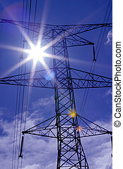 Pwr Flare - Power Line tower with strong sun flare. Blue ...