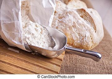 pył, bread, świeży, szufelka