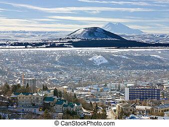 View on mountain Elbrus and city Pyatigorsk, Northern Caucasus, Russia.