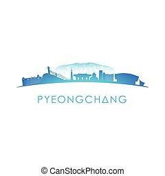 Pyeongchang skyline silhouette.