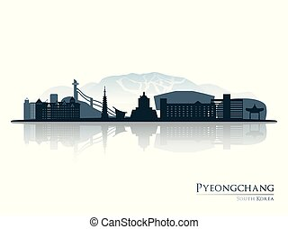 Pyeongchang skyline silhouette with reflection.