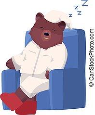 pyjamas, caractère, ours, ou, vecteur, dessin animé, style., plat, délassant, dormir, brun, chair., illustration
