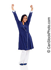 pyjamas, femme, matin, indien, étirage