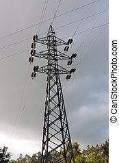 pylône, tension, élevé
