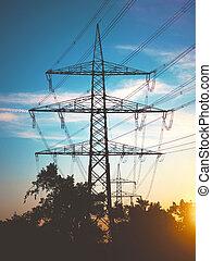 pylônes, électricité, énergie, coucher soleil, transport, propre