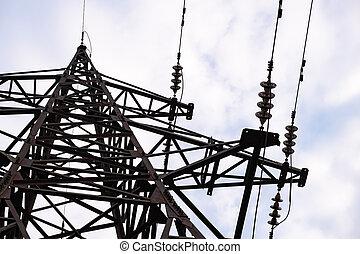 pylônes, électricité, câblage, ligth, dos