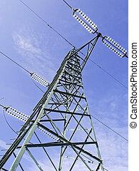 pylônes, élevé, vert, tension, au-dessus, vue
