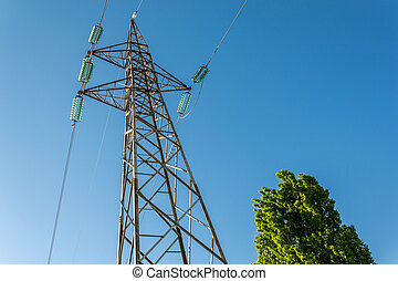pylônes, vue, au-dessous, a haute tension, électricité
