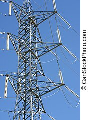 close up of a high voltage tower with blue sky