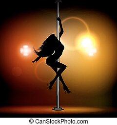pylon., meisje, dancing