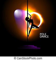 pylon., sexy, taniec, sylwetka, kobieta, młody, wektor