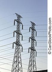 pylons., élevé, deux, puissance, tension
