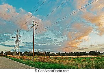 pylons at dusk