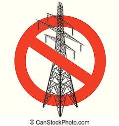 pylons., energía eléctrica, electricidad, parada,...