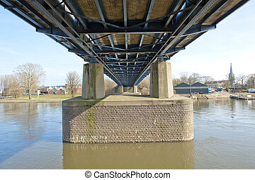 Pylons of highway bridge over river - Dutch highway bridge...