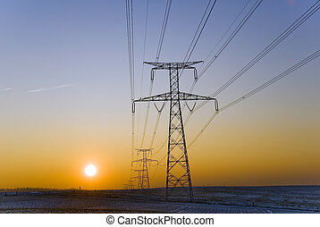 pylons on sunset background