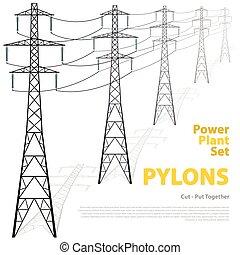 pylons., pilones, potencia, aislado, alto, fondo., vector,...