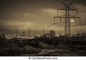 Pylons - sepia tone - Pylons in a natural landscape - black...