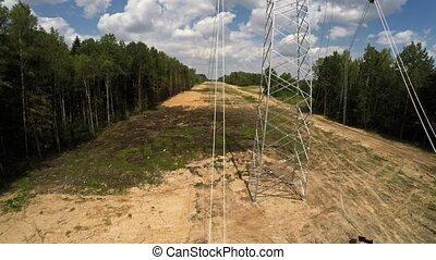 pylons., tension, puissance, transmission, electricity., ...