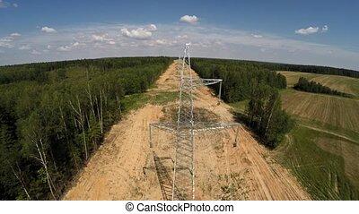 pylons., wysoki, electricity., instalowanie, voltage., 108