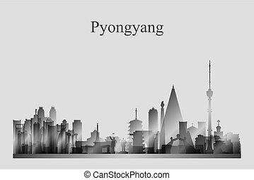 Pyongyang city skyline silhouette in grayscale