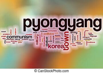 pyongyang, ord, moln, med, abstrakt, bakgrund