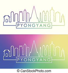 Pyongyang skyline. Colorful linear style.