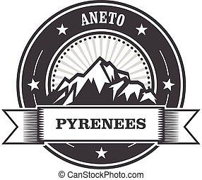 pyrénées, -, aneto, pic, montagnes
