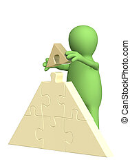 Pyramid - 3d puppet, making a pyramid from puzzles. Over ...