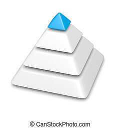 pyramid 4 levels stack completed with blue top piece - blank...