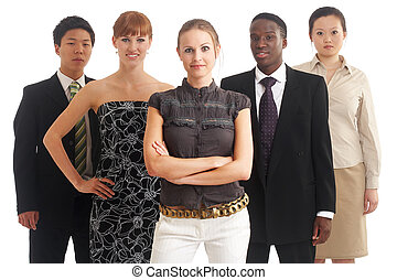 a group of young, international businesspeople standing in one row, the brunette girl in the front as the boss