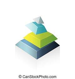 pyramid abstract transform green blue gray color