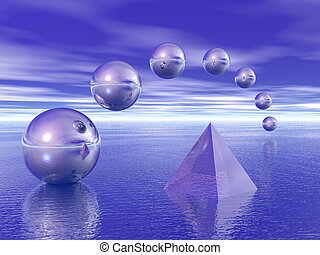 Pyramid and spheres