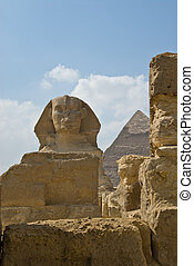 Pyramid and sphinx head
