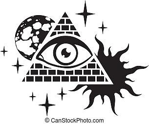 pyramid and the eye - pyramid with the eye, the moon, sun...