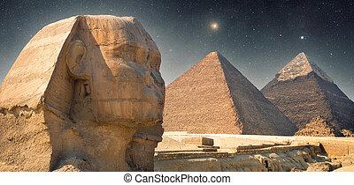 shining star - Pyramid at night under the stars. shining...