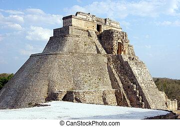 Pyramid - Big stone pyramid in Uxmal, Mexico