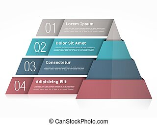 Pyramid Chart - Pyramid chart with four elements, vector...