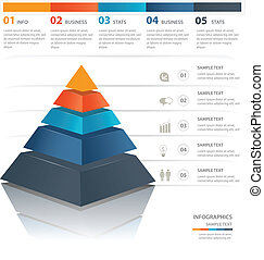 Pyramid chart - Colorful pyramid chart. Useful for ...