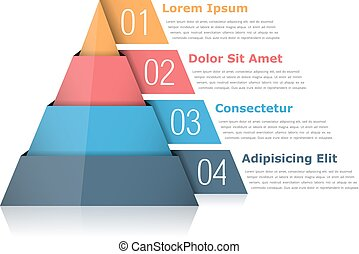 Pyramid Chart - Pyramid chart with four elements with...