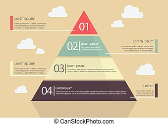 Pyramid Chart Flat Style Infographic. Vector Illustration