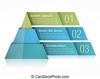 Pyramid Chart - Pyramid chart with three elements, vector...